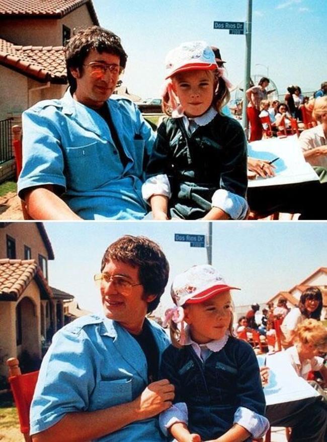 Steven Spielberg a Drew Barrymore počas natáčania E.T.