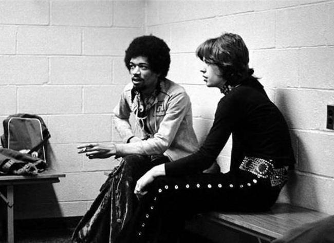 Jimmi Hendrix a Mick Jagger - 1969.