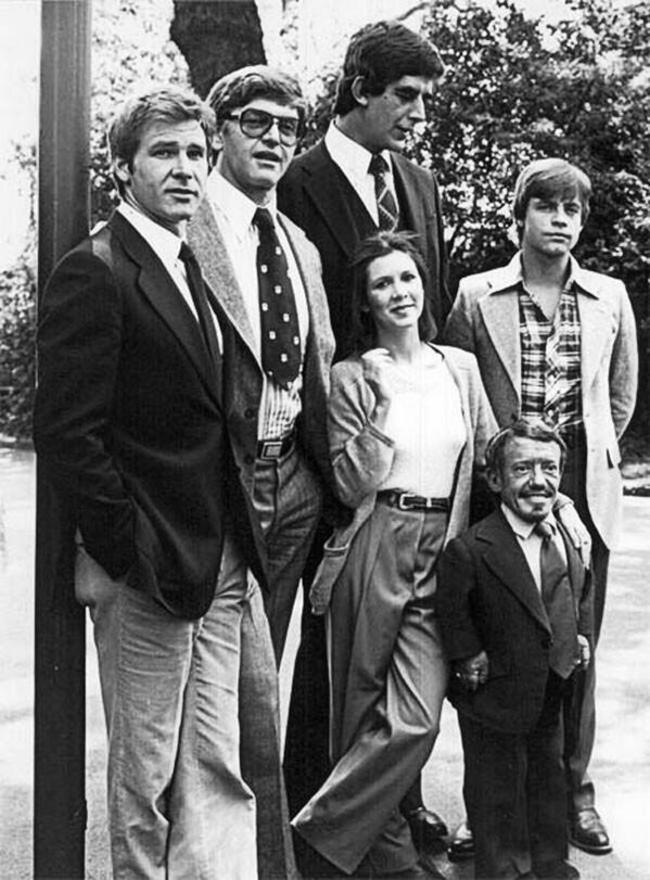 Originálne obsadenie filmu Star Wars pred natáčaním.