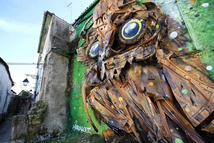 recycled-owl-sculpture-street-art-owl-eyes-artur-bordalo-6