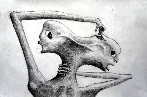 Táto kresba by sa dala považovať za majstrovské dielo, keby ju nekreslil schyzofrenický pacient.