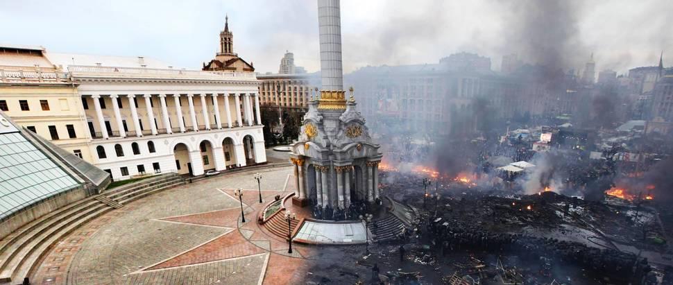 Námestie v Kyjeve pred a po protestoch Kyjev námestie pred a po protestoch, ktoré viedli k pádu prezidenta Viktora Janukovyča. Február.
