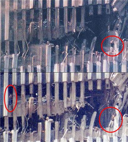 Táto fotka ukazuje dvoch ľudí, ktorí prežili náraz lietadla do dvojičiek v New Yorku. Ak to je skutočná fotografia, dokazovala by, že pri náraze nevznikol žiadny požiar z paliva lietadiel, a že to tak trošku bolo Američanmi pripravené. Taký požiar by predsa nemohli prežiť.