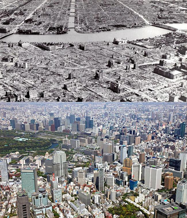 Tokio po 2. svetovej vojne a dnes.