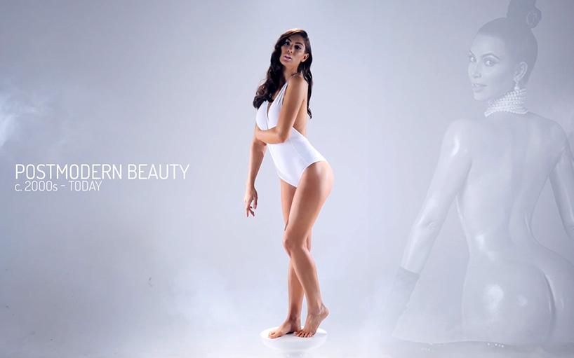 Dnešný ideál krásy. Dnes sa považuje žena za krásnu, ak je štíhla, má veľké prsia a má čo ukázať aj v zadu.