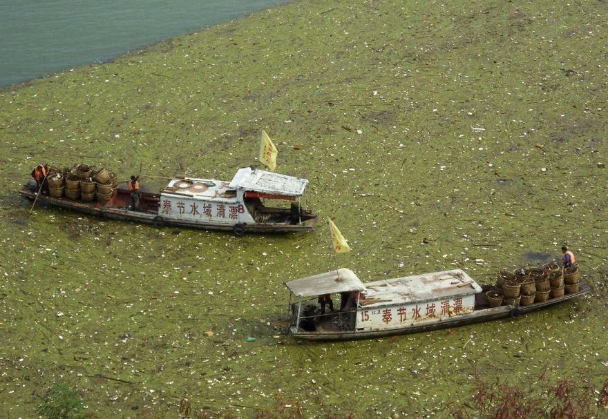 Robotníci čistia vodu od odpadu, ktorý je na hladine, rieka Yangtze.