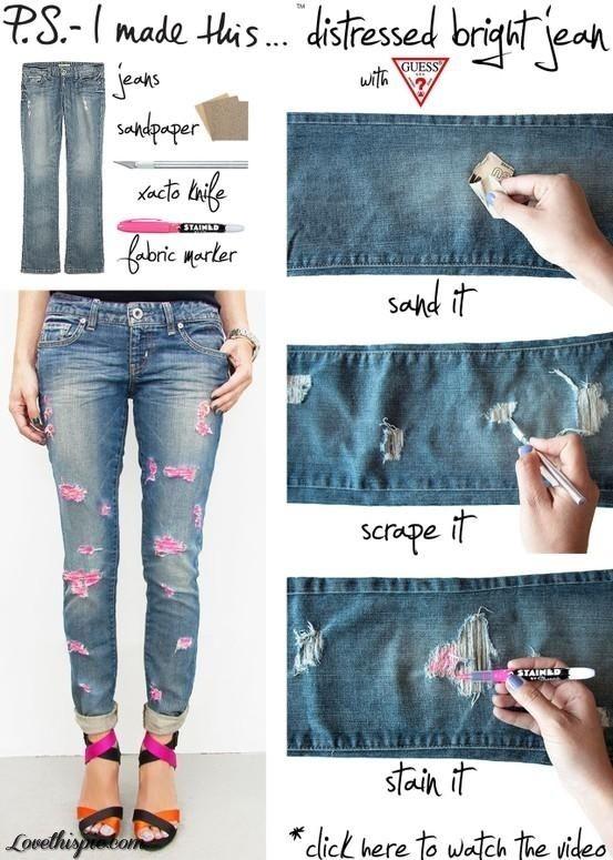 Najrýchlejší a najjednoduchší spôsob, ako si spraviť farebné džínsy.